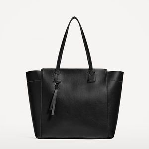 Zara Zip Top Faux Leather Shopper Tote
